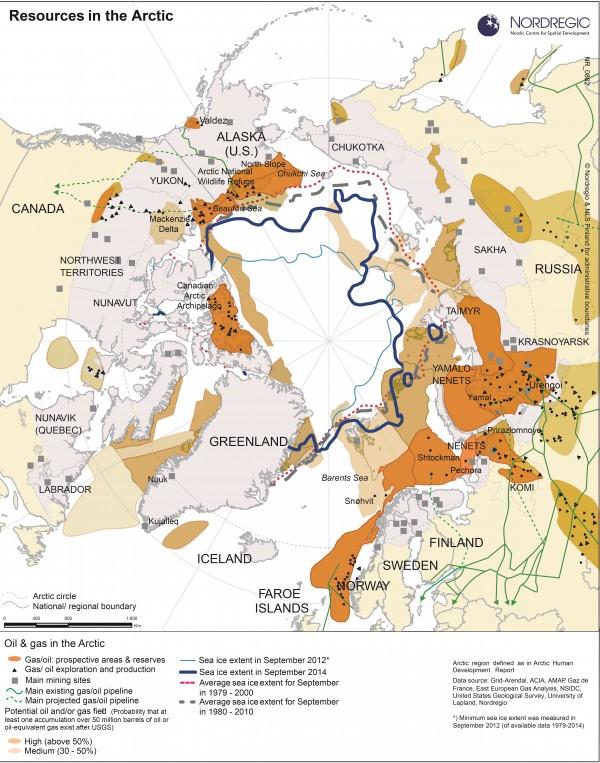 Carte des ressources naturelles en Arctique