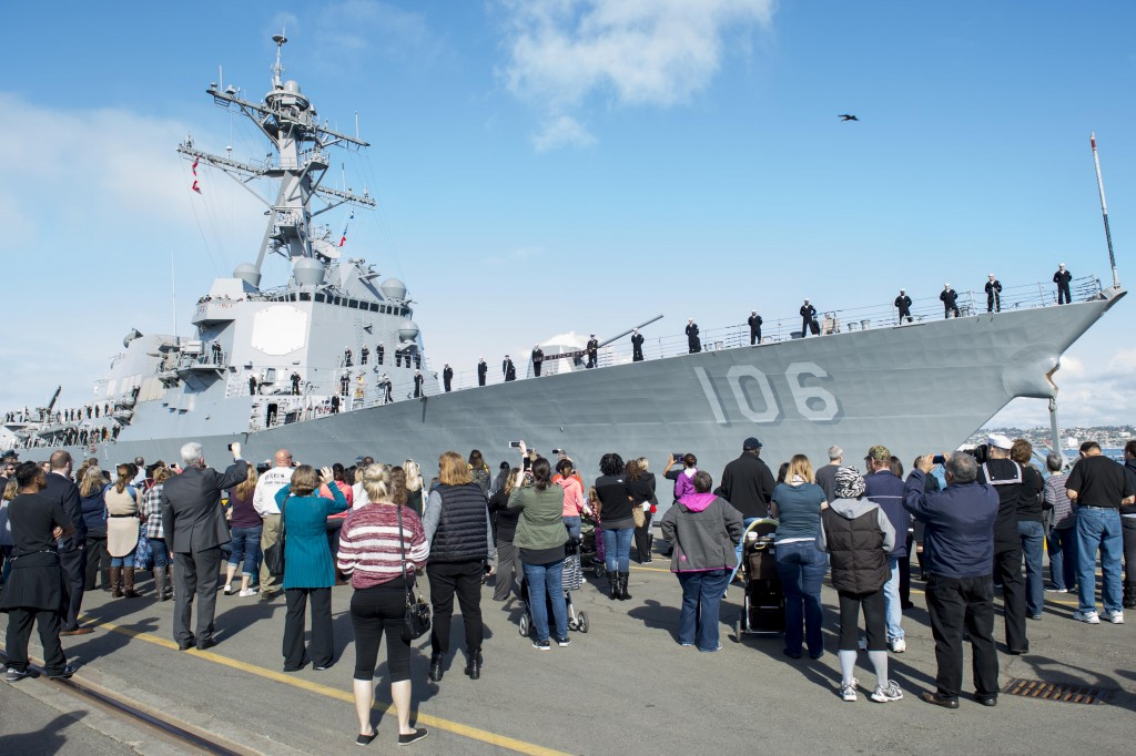 160120-N-SU278-024 SAN DIEGO (Jan. 20, 2016) – SAN DIEGO -- The Arleigh Burke-class guided-missile destroyer USS Stockdale (DDG 106), departs Naval Base San Diego as part of the Great Green Fleet, for a scheduled deployment. The Great Green Fleet is an initiative optimizing energy use to increase optimal range, endurance and payload, turning energy into a force multiplier. (U.S. Navy photo by Mass Communication Specialist 2nd Class Will Gaskill/RELEASED)