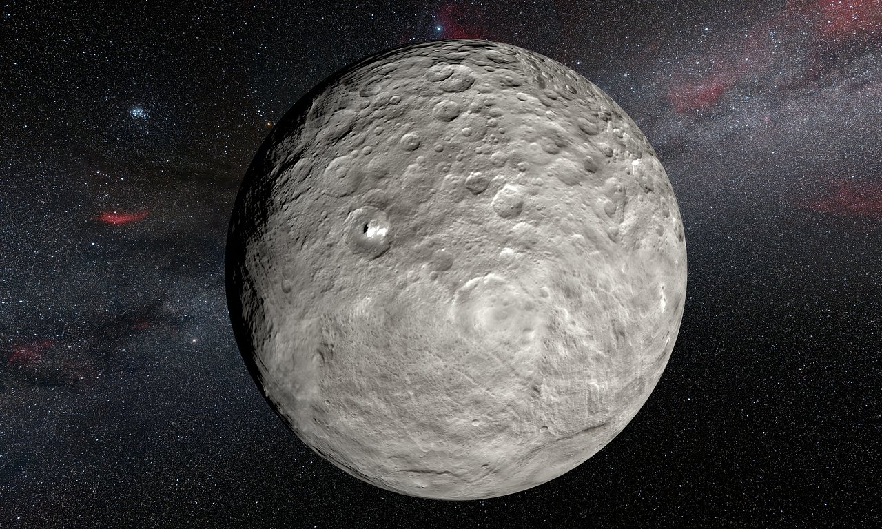 This artist's impression is based on a detailed map of the surface compiled from images taken from NASA's Dawn spacecraft in orbit around the dwarf planet Ceres. It shows the very bright patches of material in the crater Occator and elsewhere. New observations using the HARPS spectrograph on the ESO 3.6-metre telescope at La Silla in Chile have revealed unexpected daily changes on these spots, suggesting that they change under the influence of sunlight as Ceres rotates.
