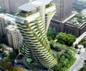 Une tour verte en forme de double hélice va dépolluer Taipei