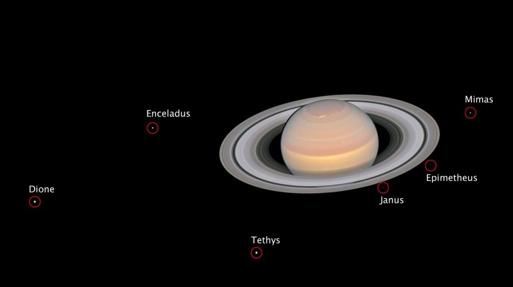 Six satellites de Saturne ont été observés le 6 juin. Credit: NASA, ESA, A. Simon (GSFC) et l'équipe OPAL, et J. DePasquale (STScI)