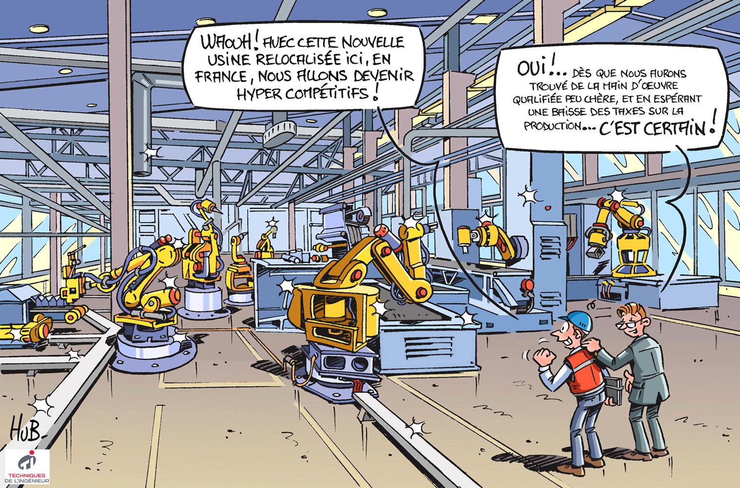 Dessin L'industrie parie sur la relocalisation